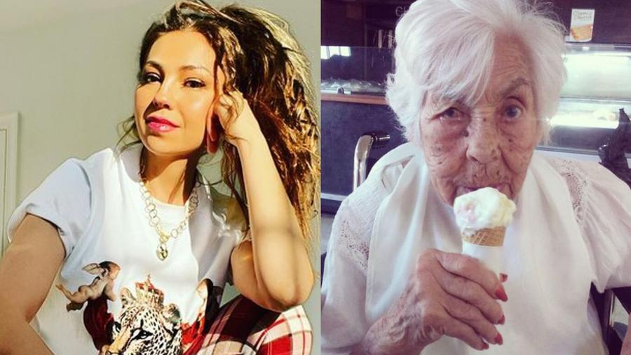 Thalía y su abuelita Eva Mange