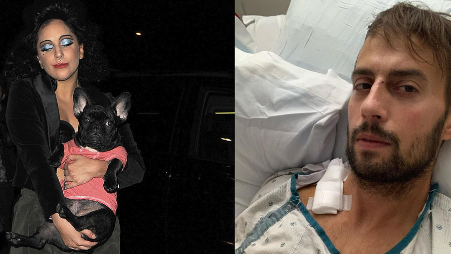 Lady Gaga cargando a uno de sus perros y Ryan Fischer, el cuidador de sus perros.
