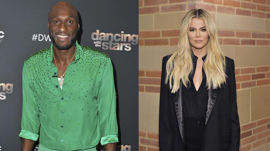 Khloé Kardashian y Lamar Odom posando