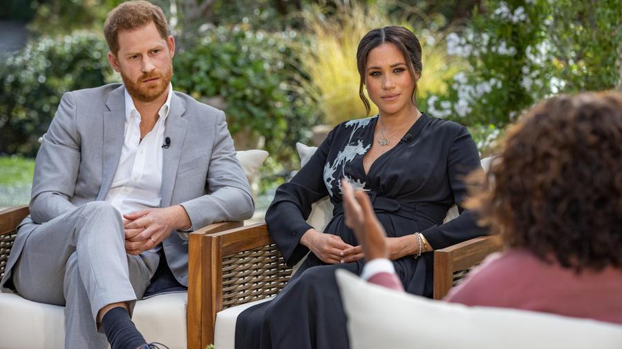 Meghan Markle y Príncipe Harry con Oprah