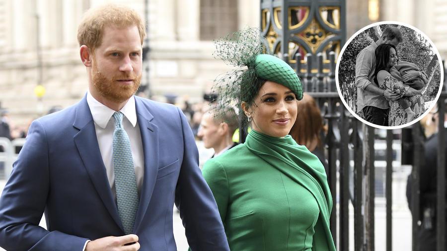 Príncipe Harry y Meghan Markle embarazada con Archie en los brazos