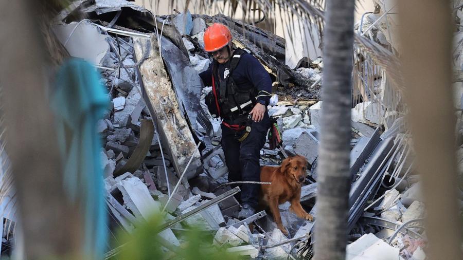 Rescatistas registran con perros los escombros del condominio sur de las torres Champlain, después del derrumbe parcial del edificio en Surfside, Florida, el jueves 24 de junio de 2021.