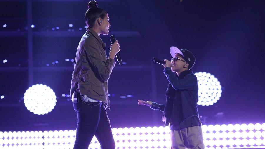 Natalia Jiménez y Jonael ensayan para la gran apertura de La Voz Kids 2016