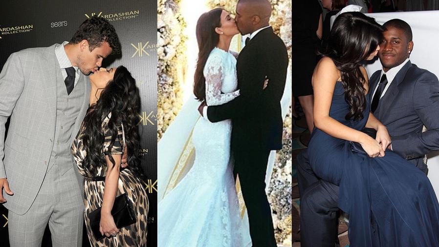 Kim Kardashian con Kanye West, Reggie Bush y Kris Humphries