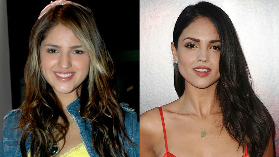 """Eiza González en su debut como Lola, en 2007, y en la premier de """"The Gallows"""" en Hollywood High School, 2015"""