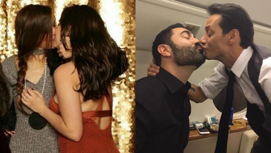 Lauren Jáuregui y Lucy Vives, besándose, y Marc Anthony y Enrique Santos.