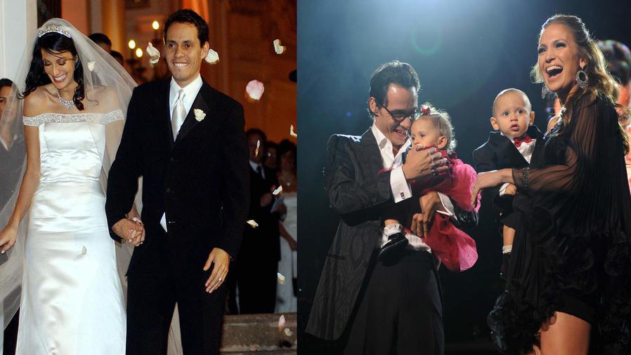 Dayanara Torres y Marc Anthony casándose en Puerto Rico, en 2003. Y Marc Anthony y Jennifer López, junto a sus gemelos, en Madison Square Garden, 2009