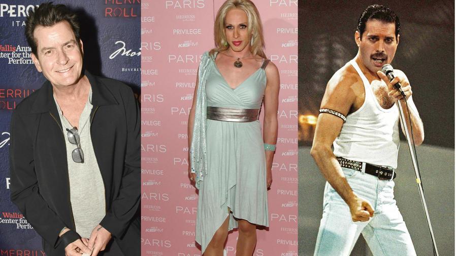 Charlie Sheen, Alexis Arquette, Freddy Mercury