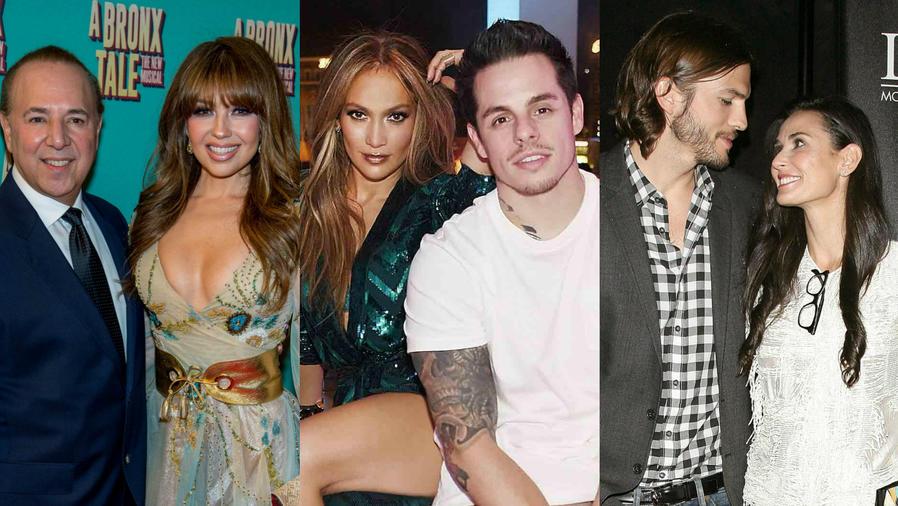 Tommy Mottola, Thalia, Jennifer Lopez, Casper Smart, Ashton Kutcher y Demi Moore.