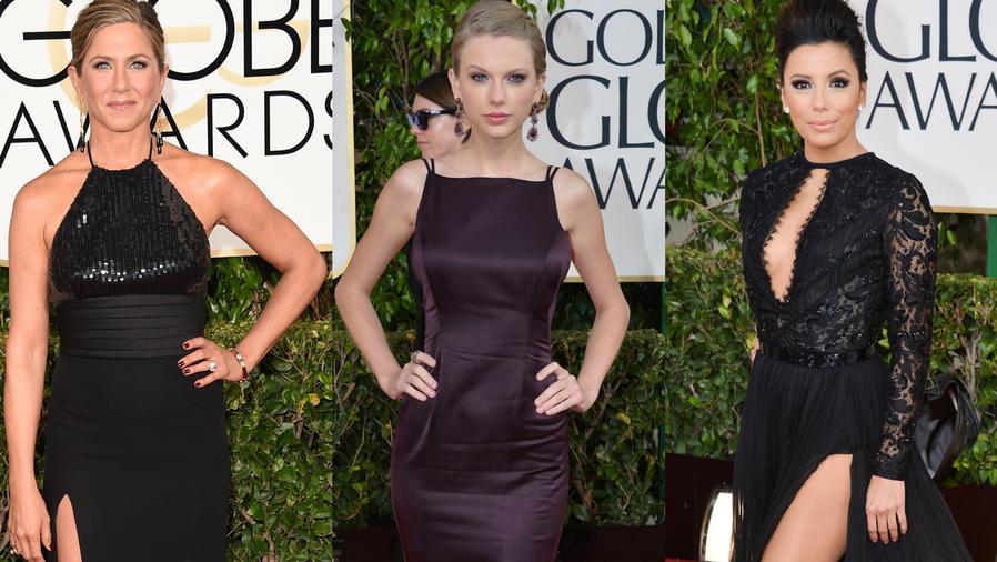 Jennifer Aniston, Talor Swift y Eva Longoria posando en la alfombra roja de distintas ceremonias del Golden Globes.