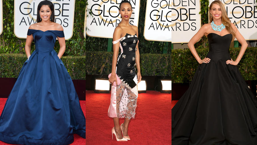 Gina Rodriguez, Zoe Saldaña y Sofia Vergara en la alfombra roja de distintos Golden Globes.