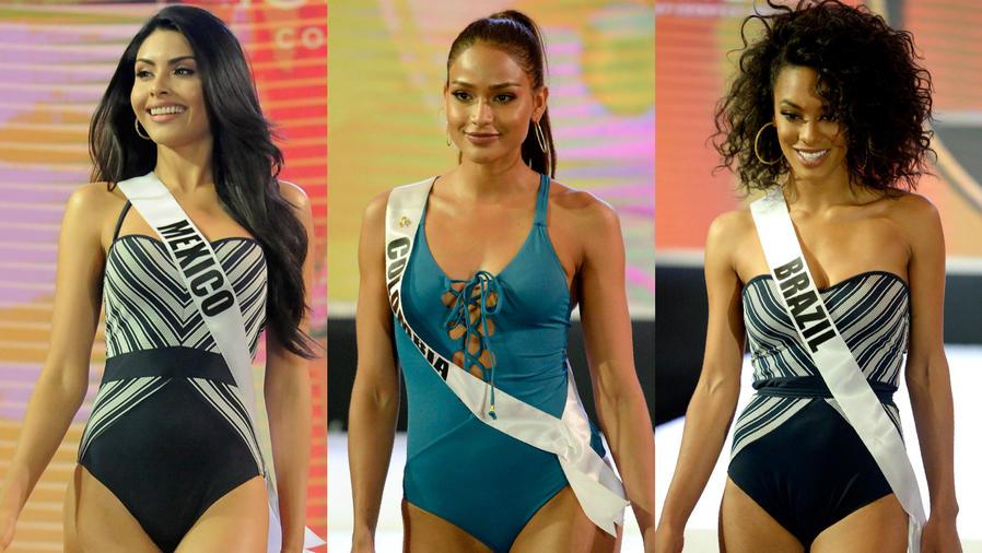 Collage: Kristal Silva (Mexico), Andrea Tovar (Colombia) y Raissa Santana (Brasil), concursantes de Miss Universo 2017.