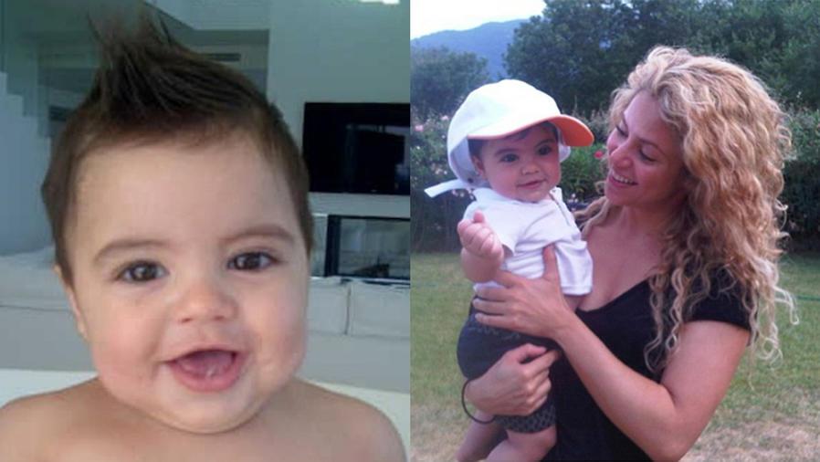 Collage: Milan Piqué solo y junto a su madre, Shakira.