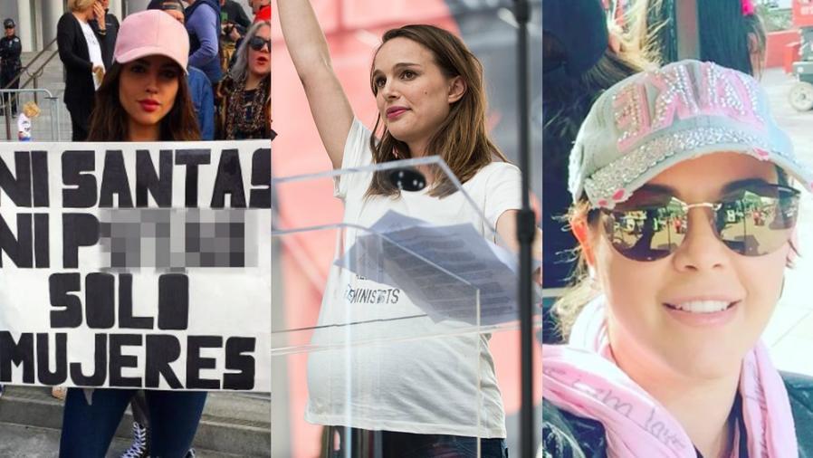 Eiza González, Natalie Portman y Alicia Machado en el Women's March