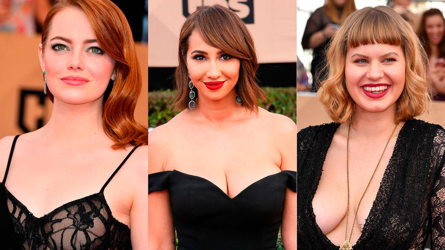 Collage de fotos de Emma Stone, Jackie Cruz y Emily Althaus en los SAG Awards 2017.