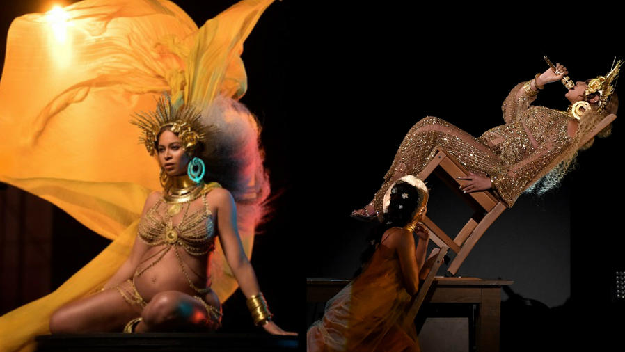 Beyoncé sentada en una silla y en su presentación en los 59th Grammy Awards, 2017