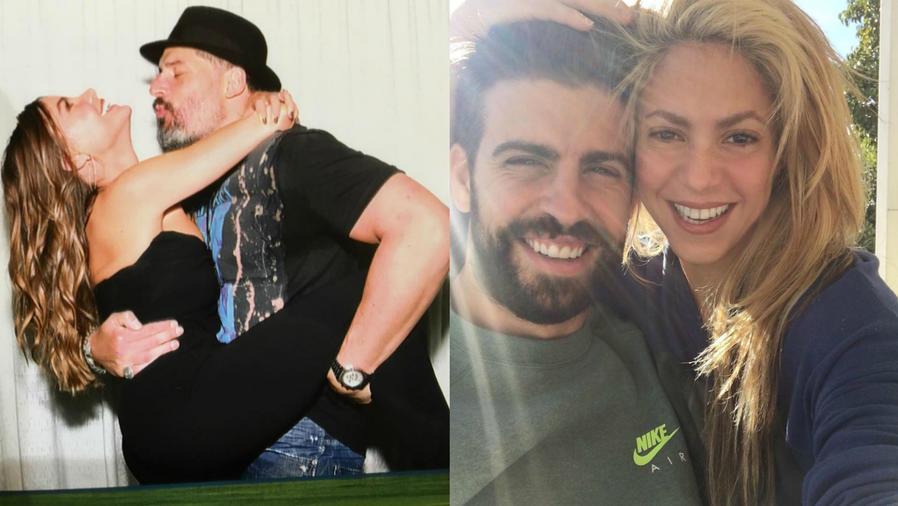 Collage de Sofia Vergara y Joe Manganiello con Shakira y Gerard Piqué.