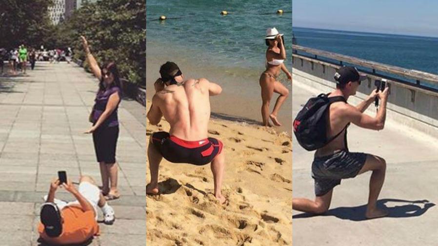 Novios en posiciones extrañas para tomar fotos de sus novias