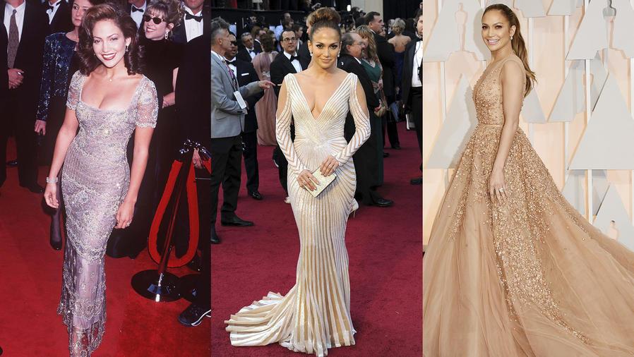 Collage de tress fotos de Jennifer Lopez en distintas galas de la entrega de los Oscar.