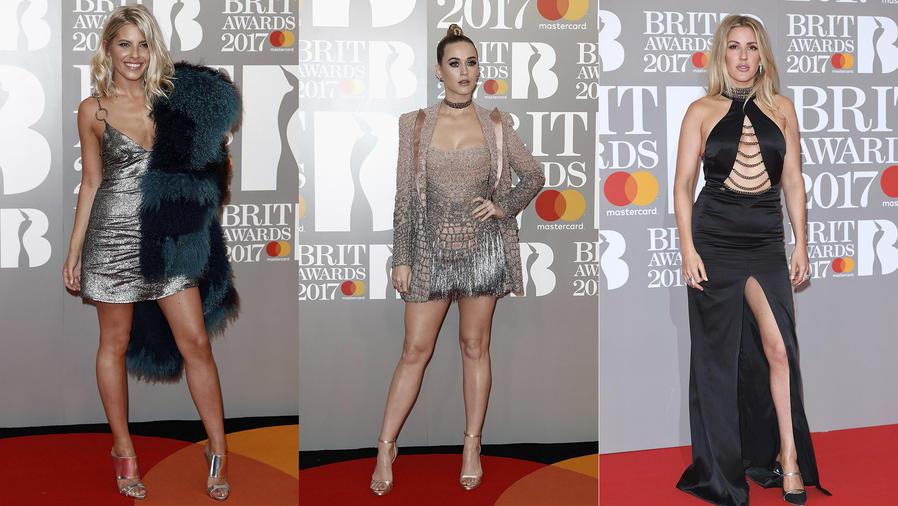 Collage de Mollie King, Katy Perry y  Ellie Goulding en los Brit Awards 2017
