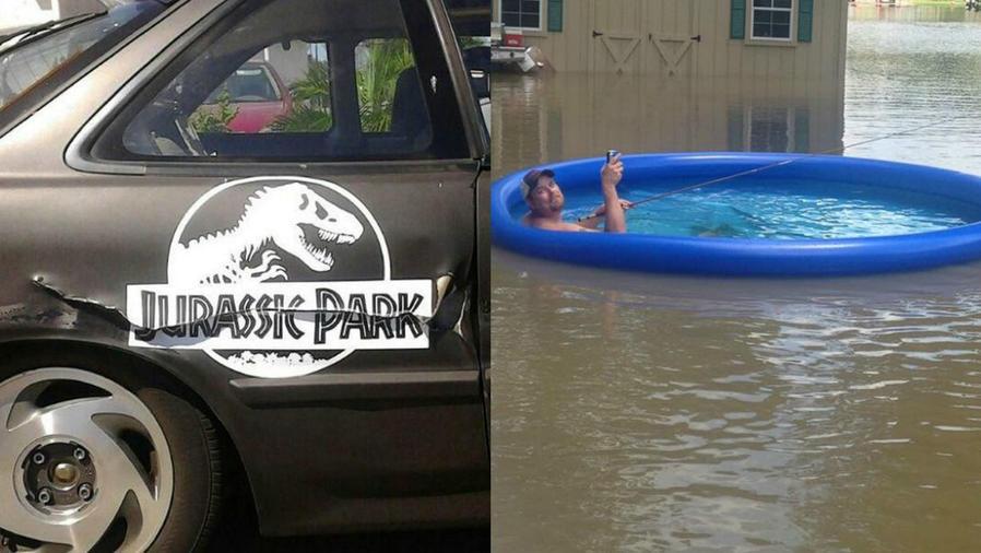 Collage un letrero de Jurassic Park sobre un coche para disimular un choque y un hombre pescando durante una inundación.