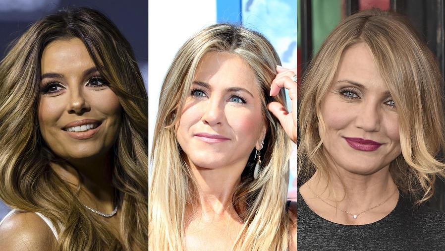 Collage de fotos de Eva Longoria, Jennifer Aniston y Cameron Díaz.