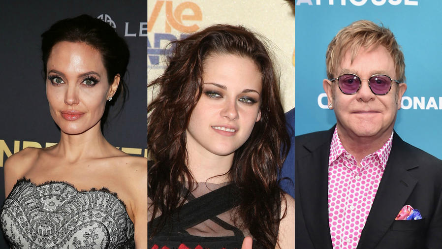 Collage de Angelina Jolie, Kirsten Stewart y Elton John.