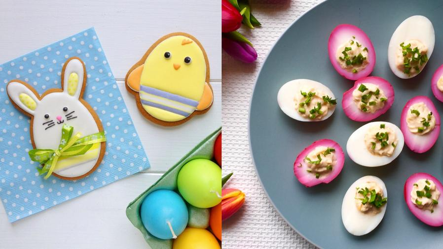 Collage de galletas decoradas y huevos rellenos para brunch de Pascua.