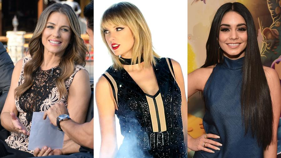 Collage de Elizabeth Hurley, Taylor Swift y Vanessa Hudgens.