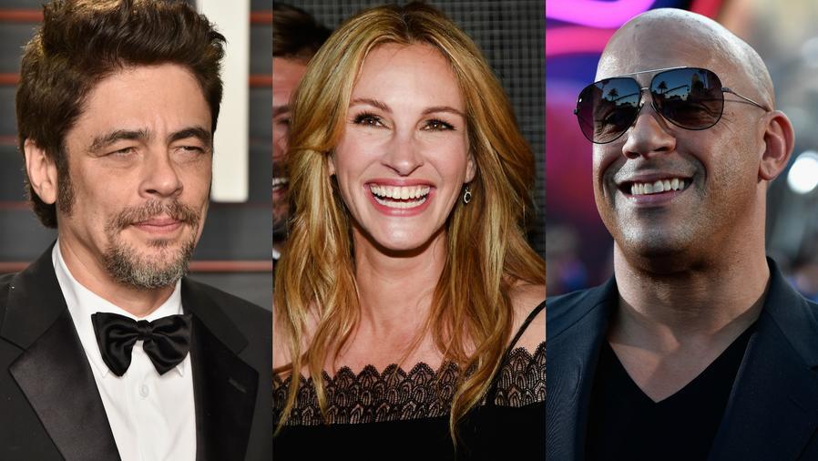 Benicio del Toro, Julia Roberts y Vin Diesel en collage.