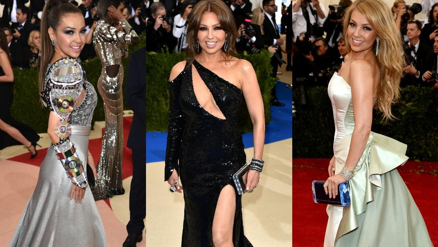 Thalía en distintas alfombras rojas de la Met Gala.
