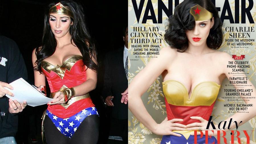 Collage de fotos de Kim Kardashian y Katy Perry vestidas de Wonder Woman.