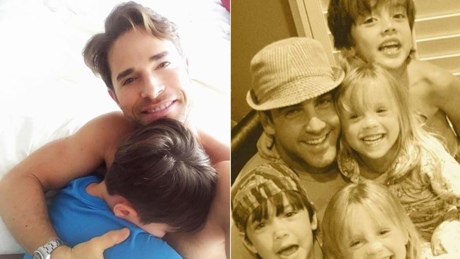 Sebastián Rulli y Carlos Ponce con sus hijos