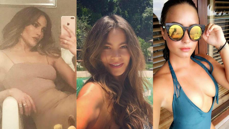 Collage de JLo, Sofía Vergara y Demi Lovato.