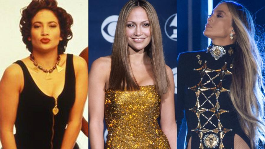 Collage de evolución de Jennifer Lopez.