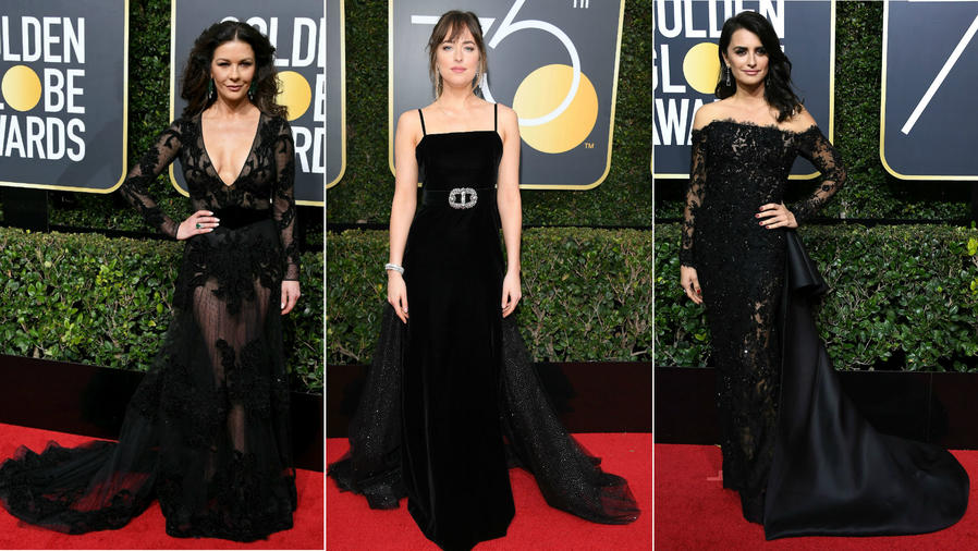 Collage actrices en los Golden Globes 2018