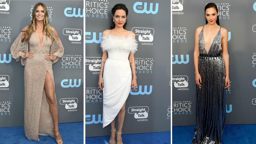 Collage Angelina Jolie, Heidi Klum y Gal Gadot en los CCA 2018