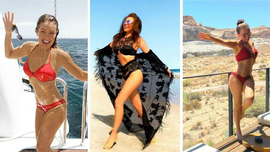 Collage de Thalía en bikini