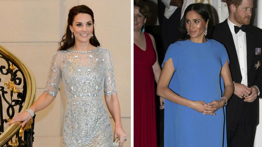 Kate Middleton y Meghan Markle vestidas de azul
