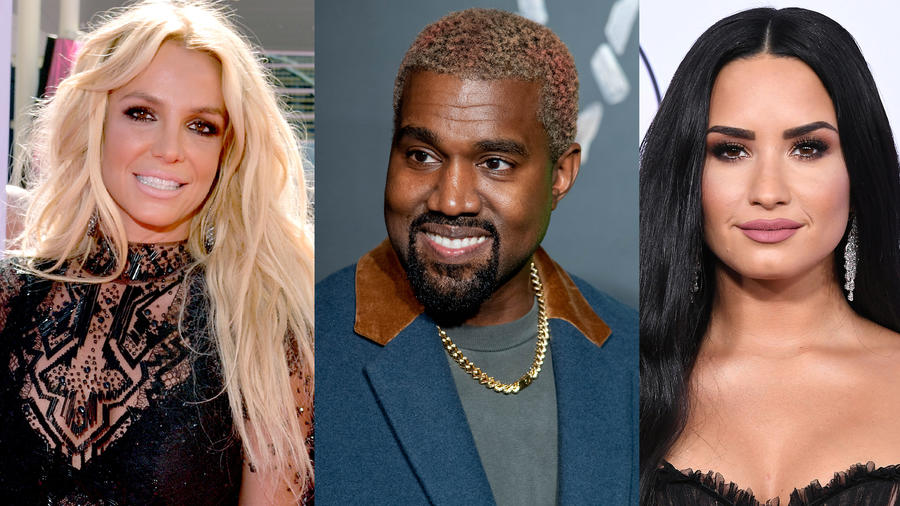 brtiney spears, kanye west, and demi lovato