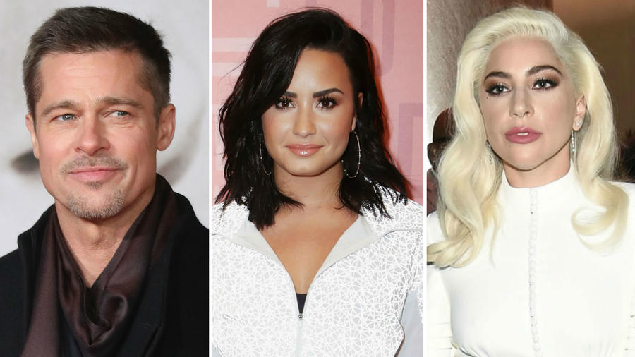 Brad Pitt, Demi Lovato y Lady Gaga