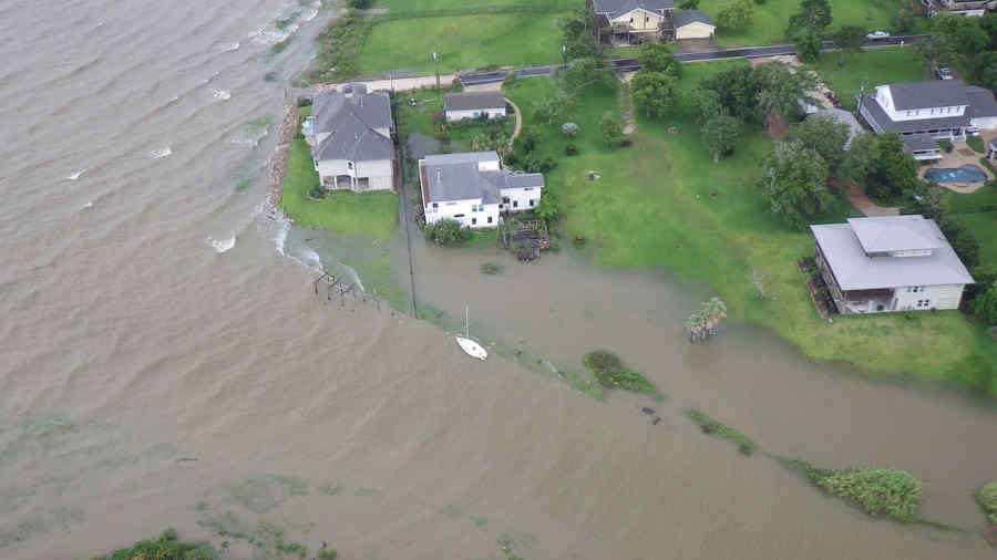 Flooding is pictured from a Coast Guard Air Station Houston MH-65 Dolphin helicopter as it flies over Galveston
