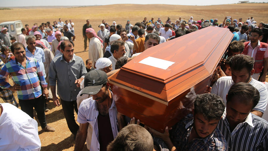 Funeral of drowned Syrian children and their mother in Kobani