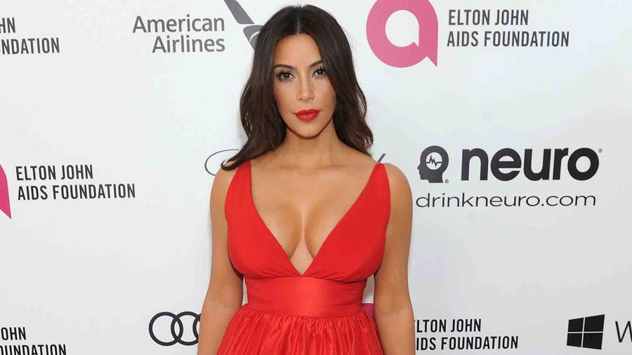 Kim Kardashian en Elton John Aids Foundation Academy Awards 2014
