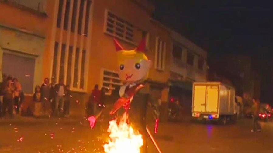 queman muñeco de trump