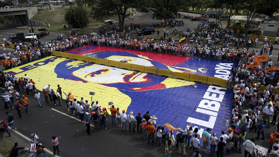 Marcha en Caracas por la liberación de Leopoldo López