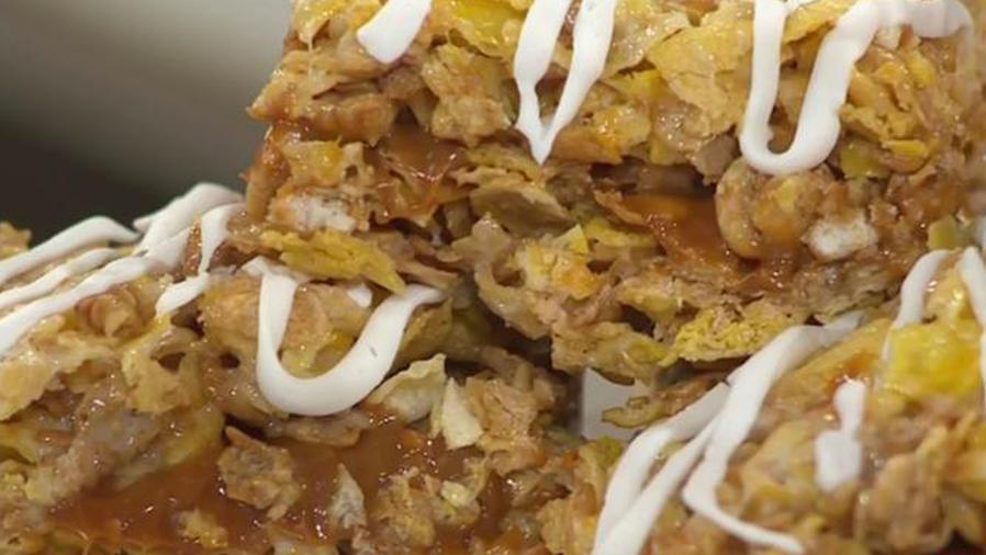 Receta de cocina: Bocadillo de cereal con Dulce de Leche