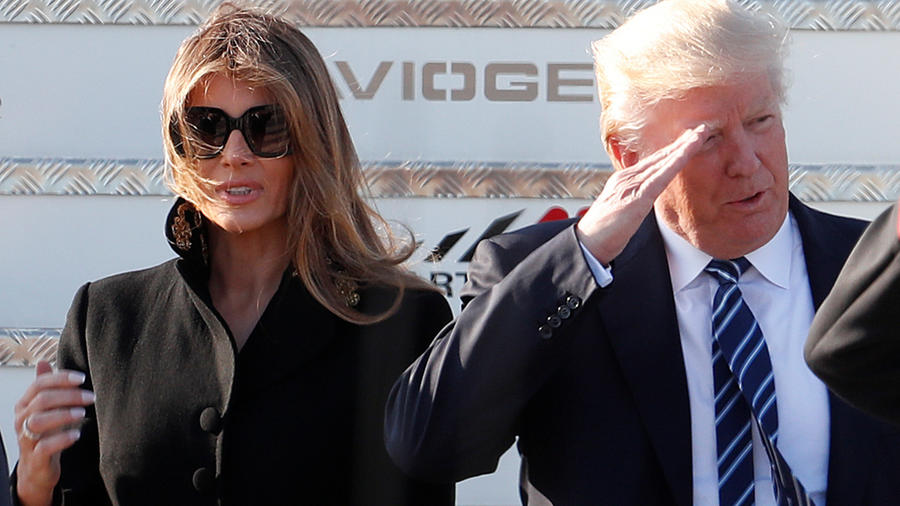 US President Donald Trump and first lady Melania Trump arrive at the Leonardo Da Vinci Airport in Rome