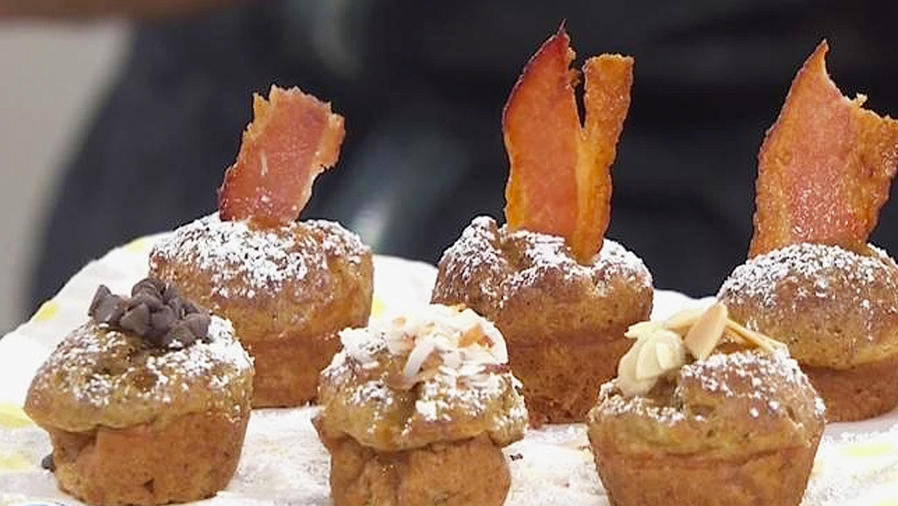 tostadas francesas con forma de cup cakes