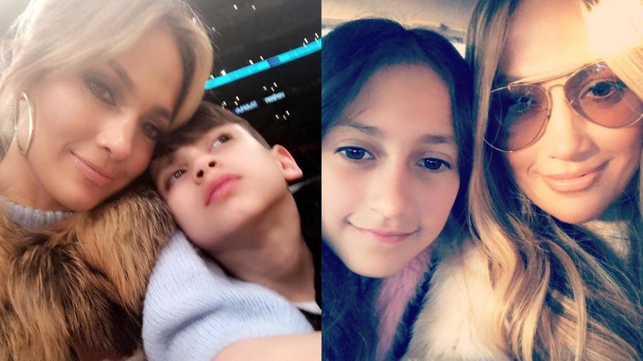 Jlo con sus hijos Emme y Max